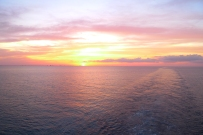 The sun was setting right on top of Florida as we sailed off to The Bahamas.