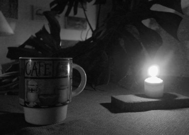 What I need to wake up: Coffee, stretches, quiet time, sometimes candles.