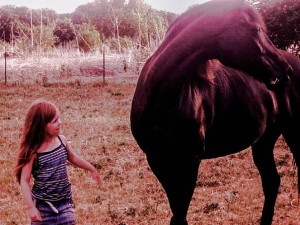 My niece Franchesca and a friend's horse (Tennessee Walker)