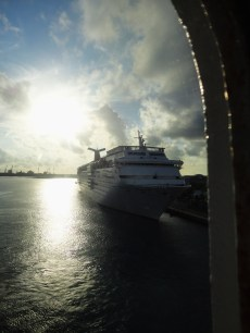 The moment of arriving at the Bahamas after being at sea all night, looking through my cabin window and seeing another cruise ship. The first real vacation I ever took in my life!