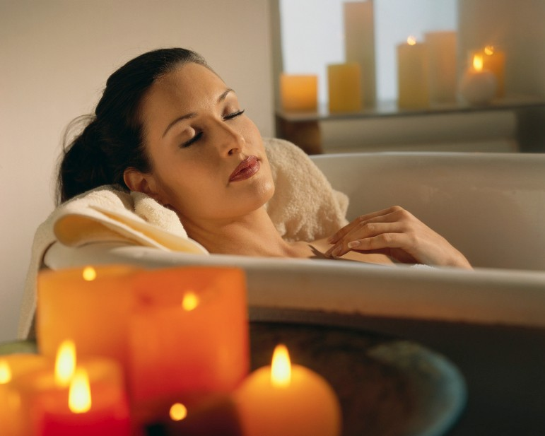 I relax in my bath with candles
