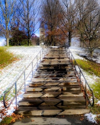 Flight of stairs at the top of a very big hill